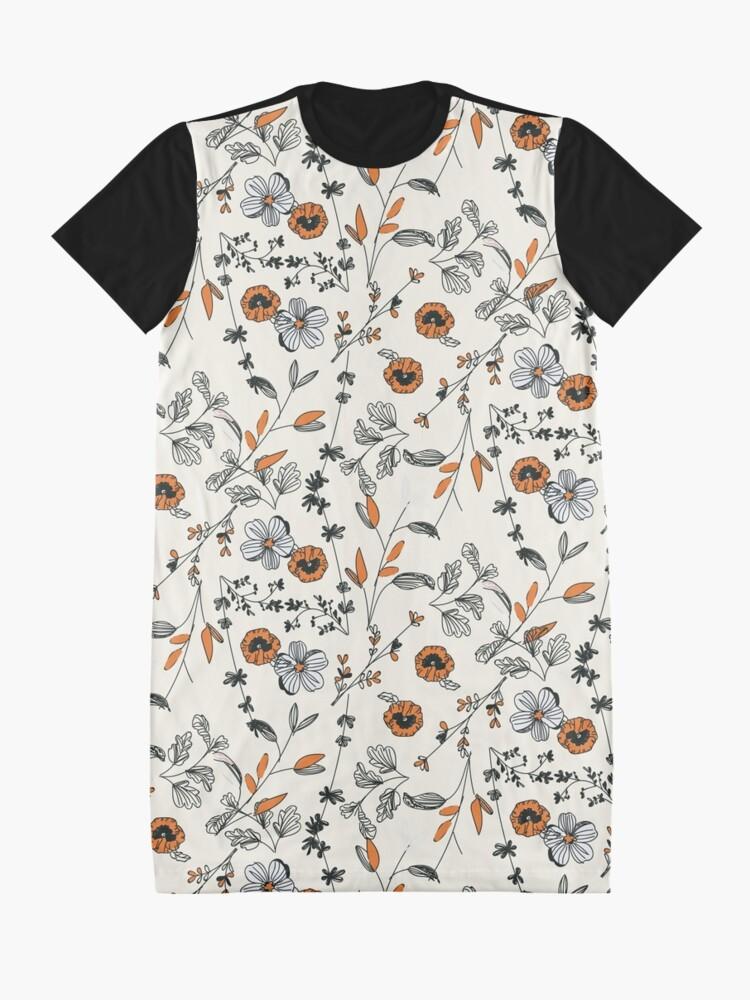 Alternative Ansicht von Orange Blumenmuster T-Shirt Kleid