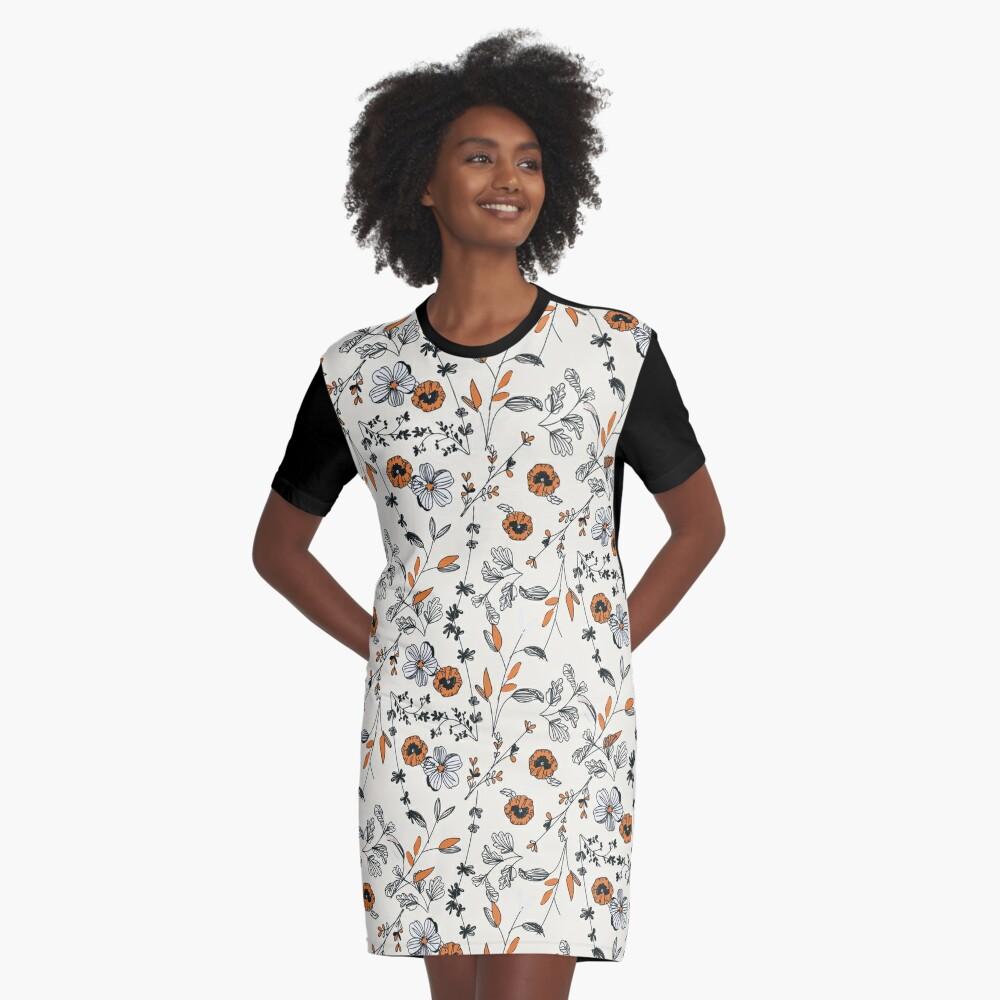 Orange Flower Pattern Graphic T-Shirt Dress