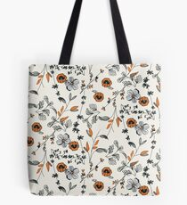Orange Flower Pattern Tote Bag