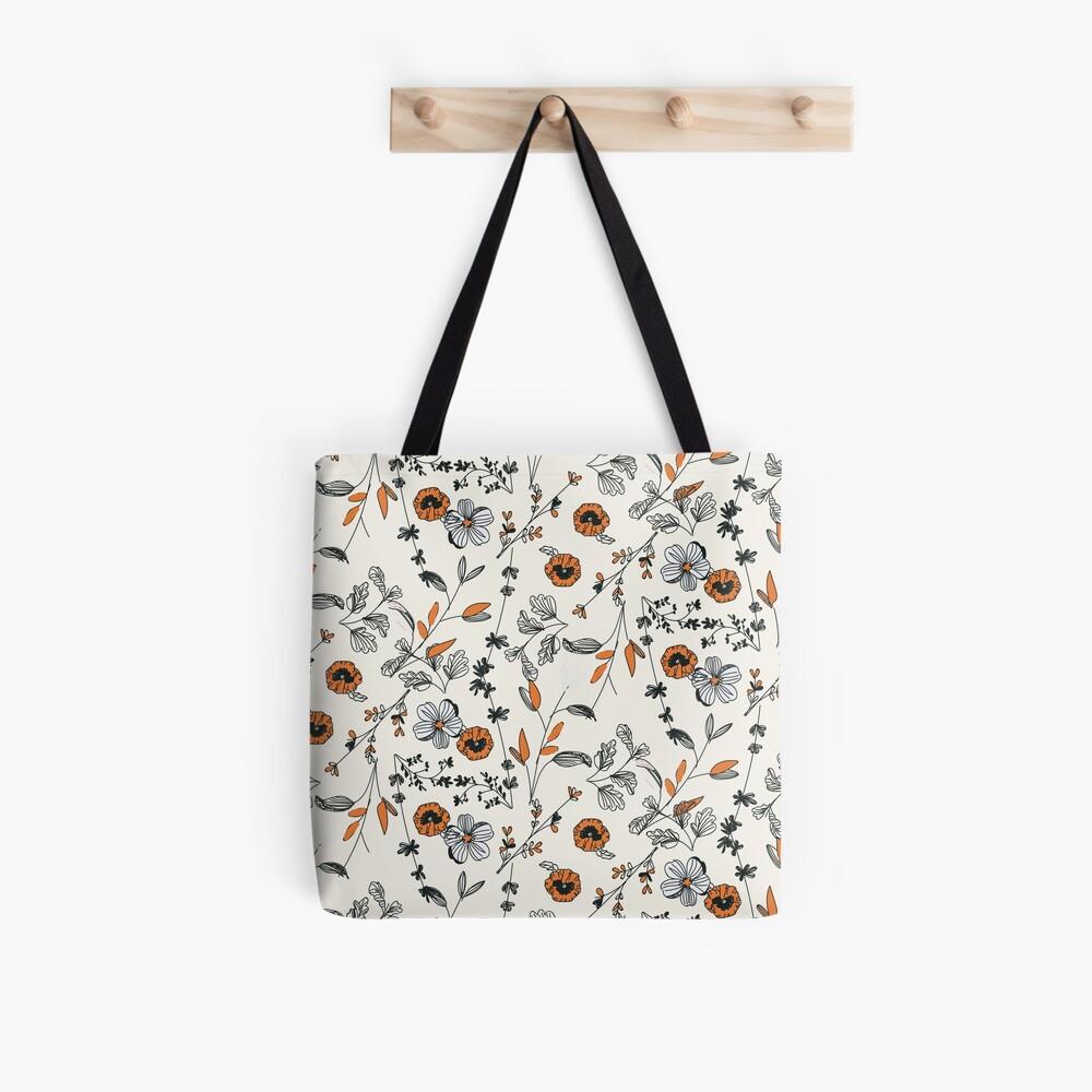 Orange Flower Pattern Tote Bag
