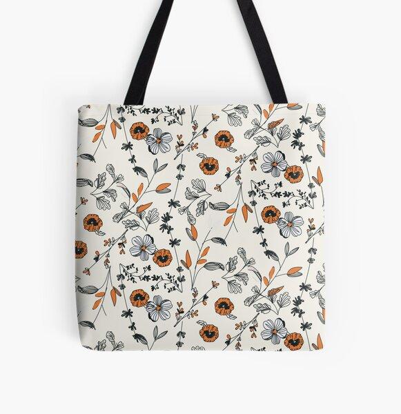 Orange Flower Pattern All Over Print Tote Bag