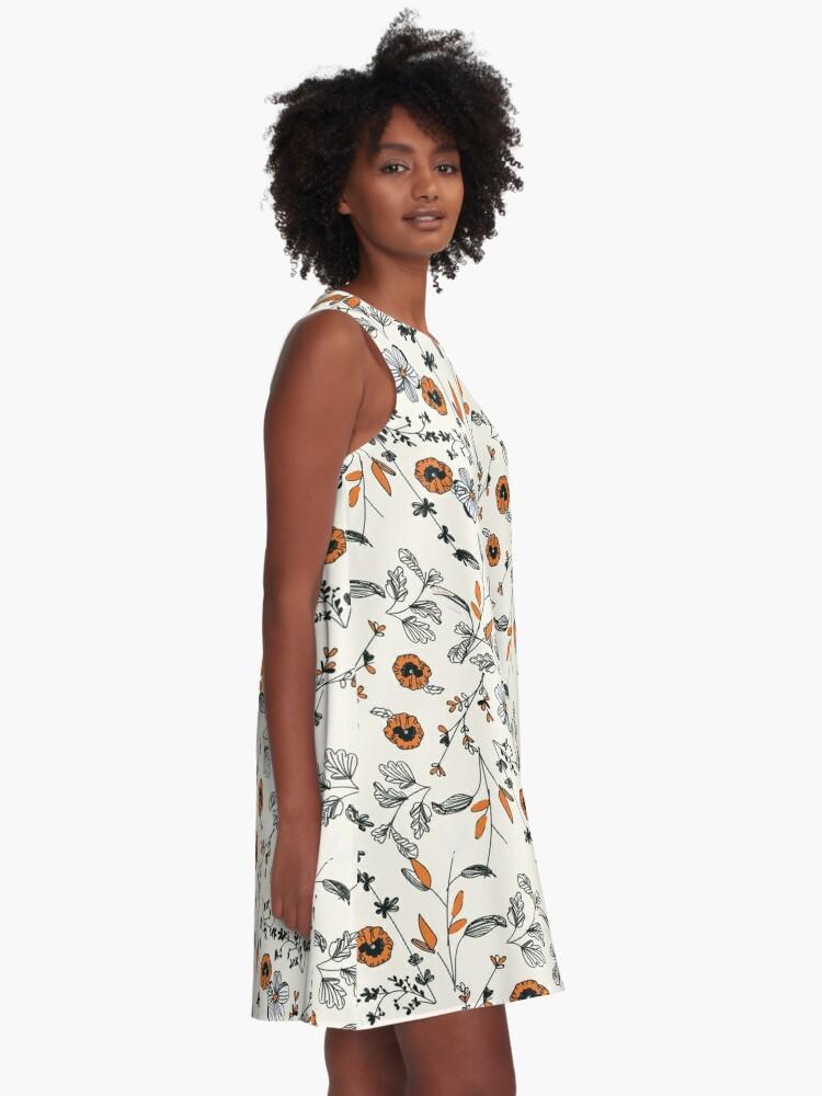 Alternative Ansicht von Orange Blumenmuster A-Linien Kleid