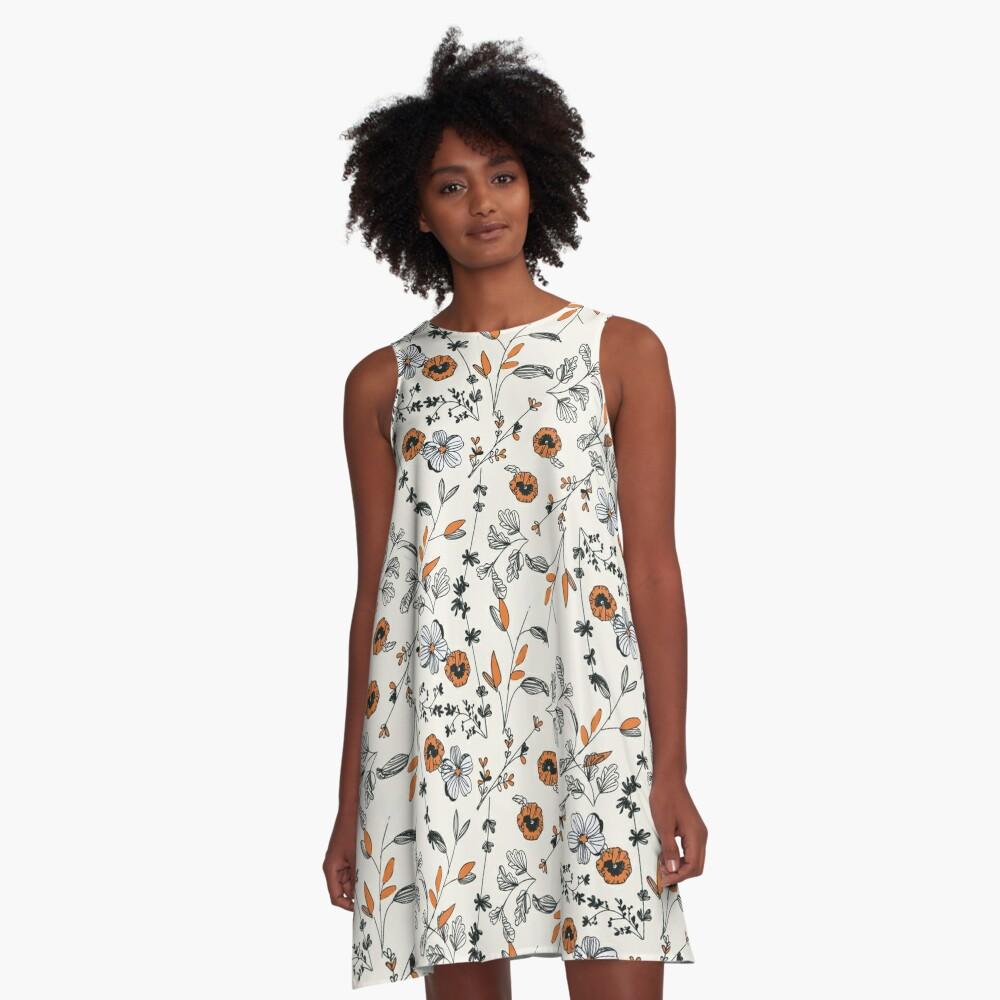 Orange Blumenmuster A-Linien Kleid