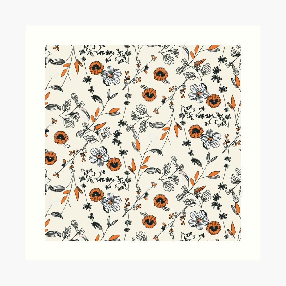 Orange Flower Pattern Art Print