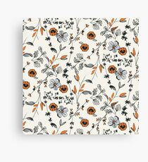 Orange Flower Pattern Canvas Print