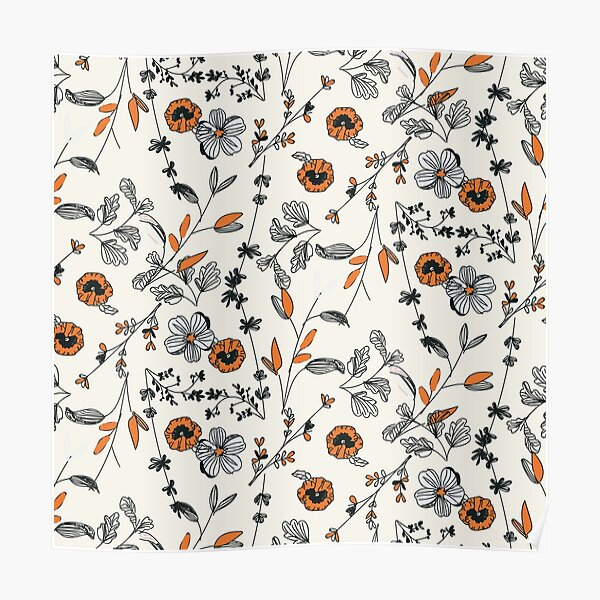 Orange Flower Pattern Poster