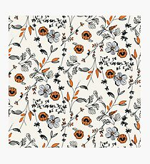 Orange Flower Pattern Photographic Print