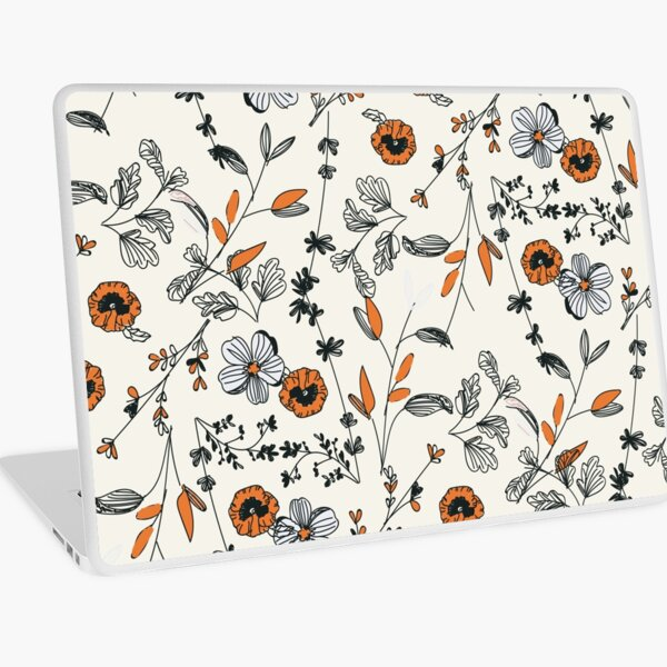 Orange Flower Pattern Laptop Skin