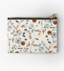 Orange Flower Pattern Studio Pouch