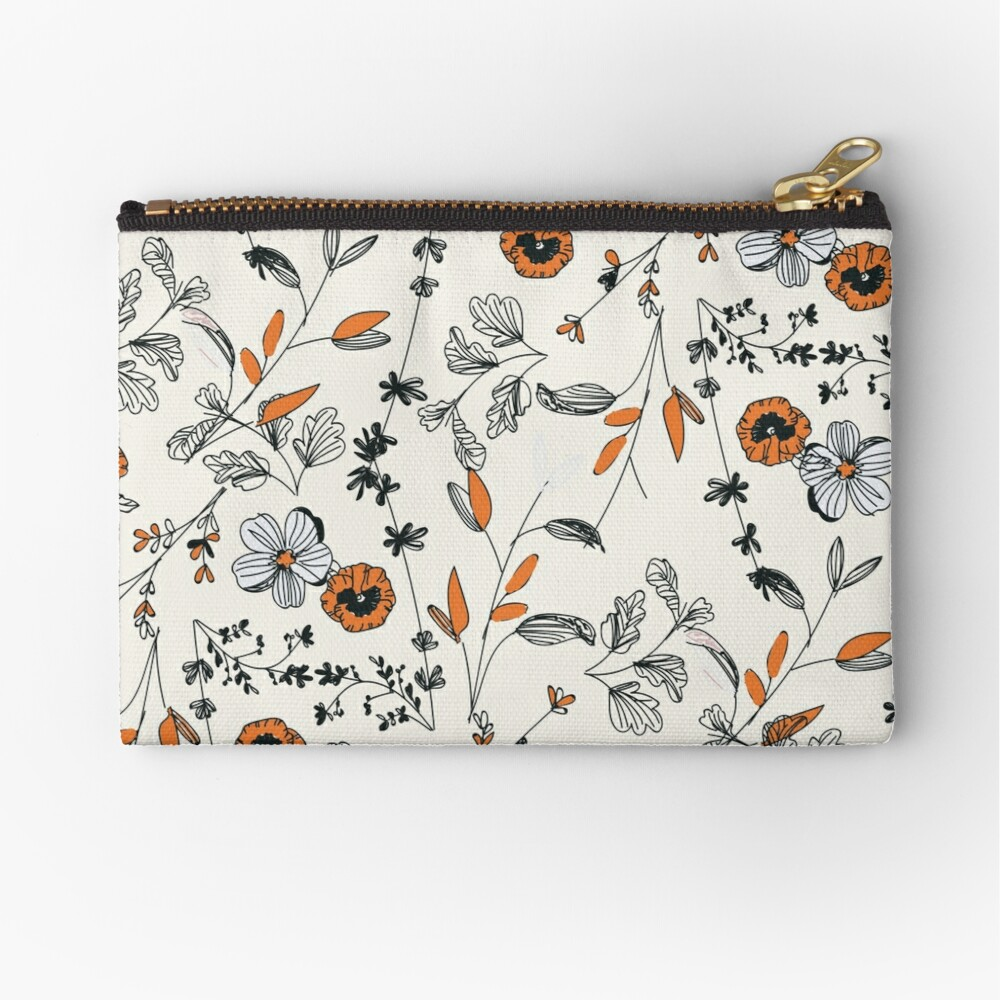 Orange Flower Pattern Zipper Pouch
