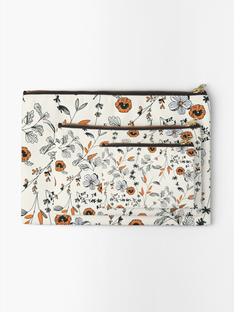 Alternate view of Orange Flower Pattern Zipper Pouch