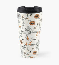 Orange Flower Pattern Travel Mug