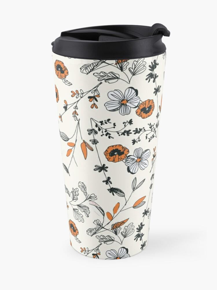 Alternate view of Orange Flower Pattern Travel Mug