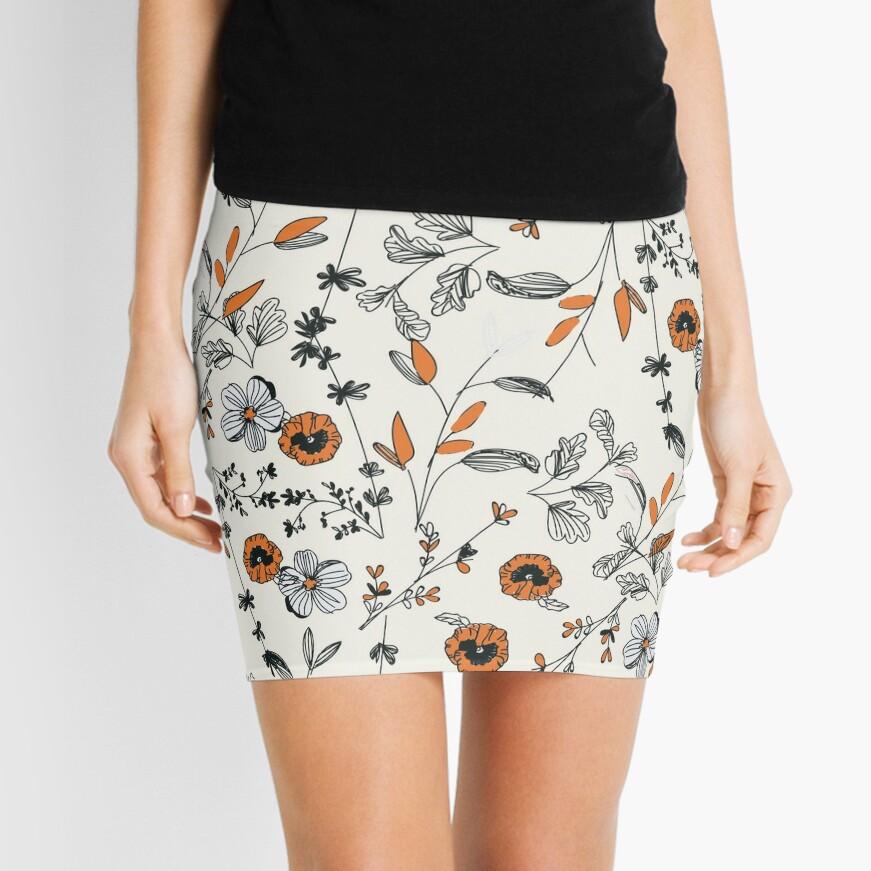 Orange Flower Pattern Mini Skirt