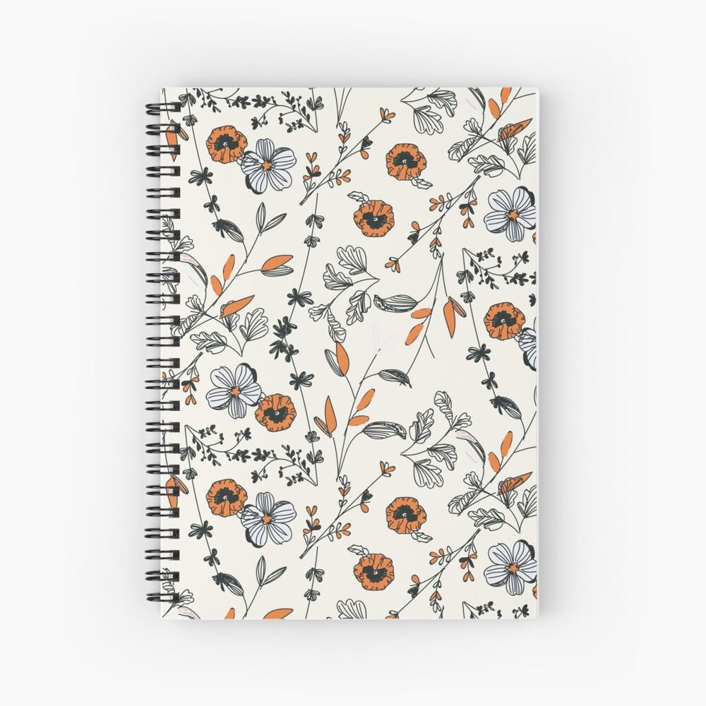 Orange Flower Pattern Spiral Notebook