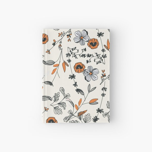 Orange Flower Pattern Hardcover Journal