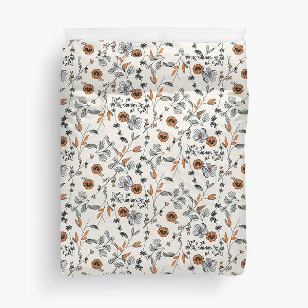 Orange Flower Pattern Duvet Cover