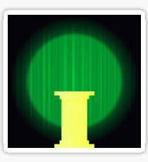 Yellow Marble Greek Column on Dark Green Wave Background. Ancient Single Pillar Sticker