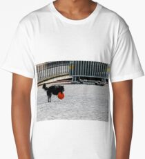 Black and white dog holds a red silicone flying saucer toy Long T-Shirt