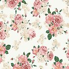 Vintage Pink And White Roses by Yousef Tantawi