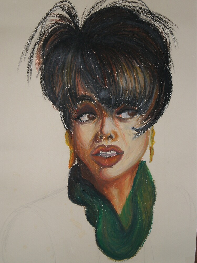 lady in oil pastel by Samoore