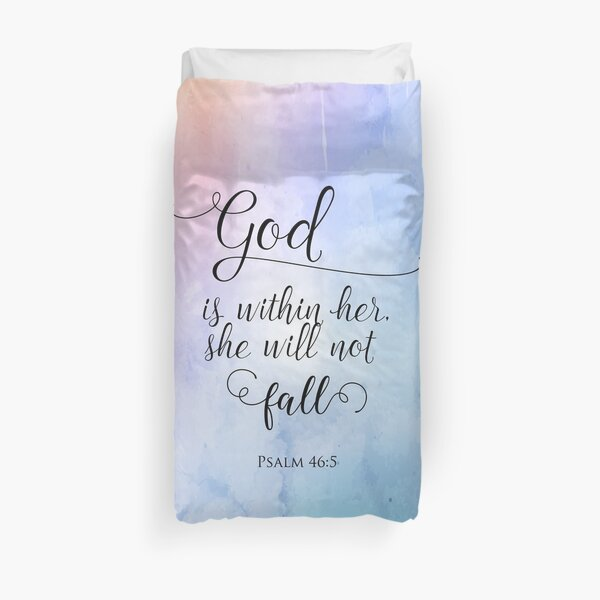 God Is Within Her Christian Art Design Duvet Cover