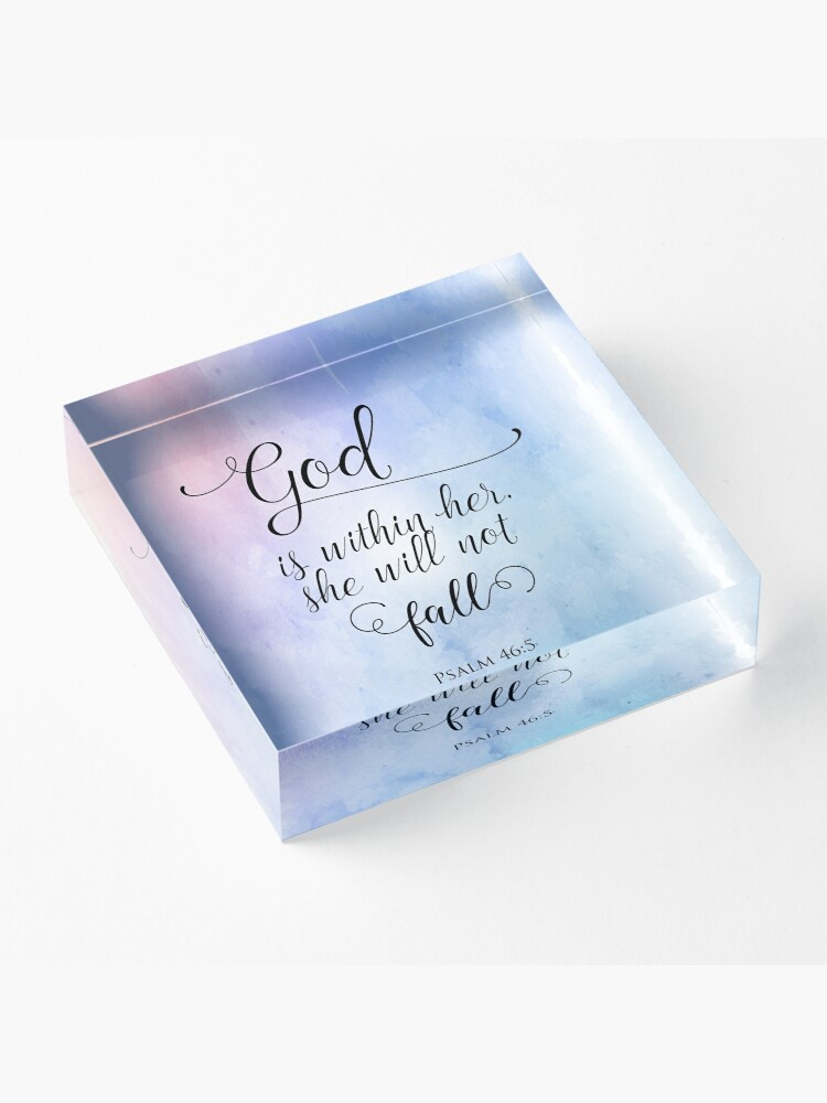 Alternate view of God Is Within Her Christian Art Design Acrylic Block