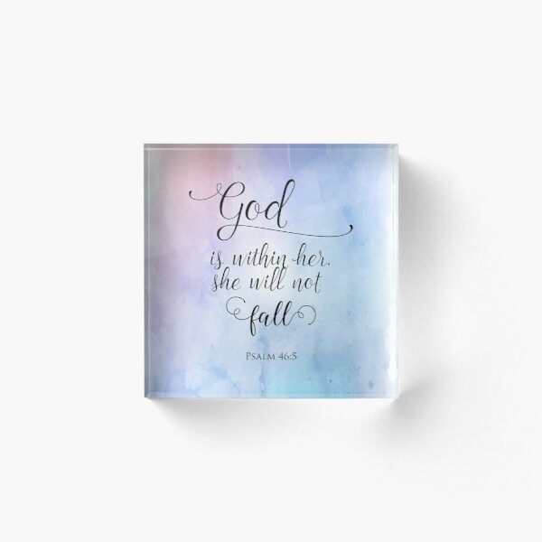 God Is Within Her Christian Art Design Acrylic Block