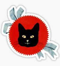 Black Cat with Blue Ribbon Sticker