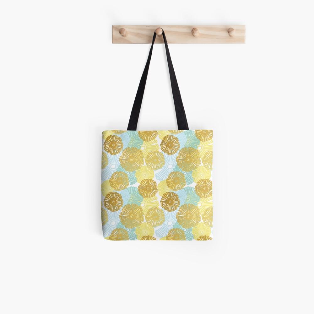 Gold & Blue Floral Pattern Tote Bag
