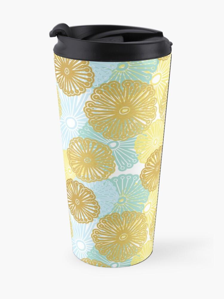 Alternate view of Gold & Blue Floral Pattern Travel Mug