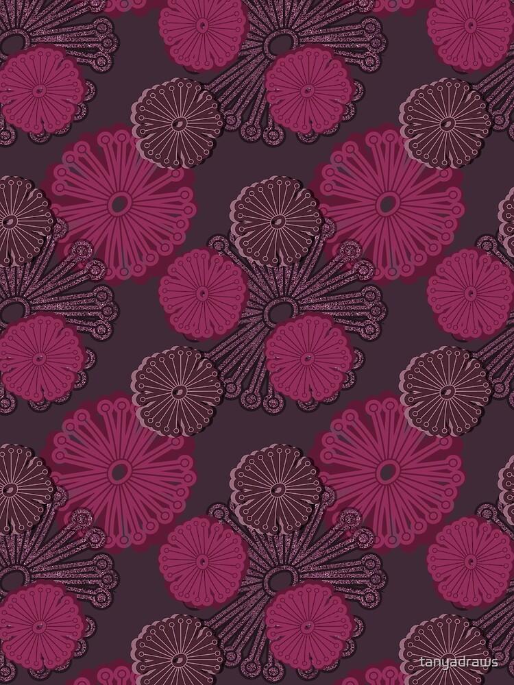 Fuchsia Flower Pattern by tanyadraws