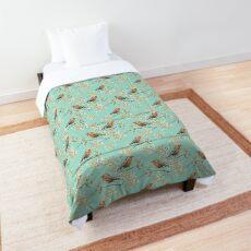 Vintage Robin Readbreast Art Pattern Comforter