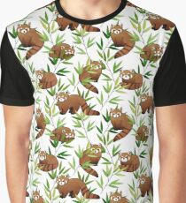 Red Panda & Bamboo Leaves Pattern Graphic T-Shirt