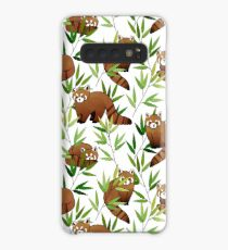 Red Panda & Bamboo Leaves Pattern Case/Skin for Samsung Galaxy
