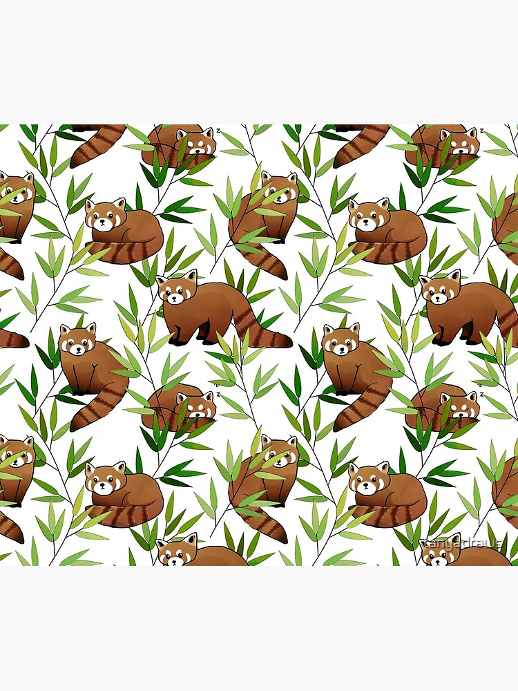 Red Panda & Bamboo Leaves Pattern by tanyadraws