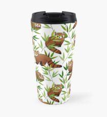 Red Panda & Bamboo Leaves Pattern Travel Mug