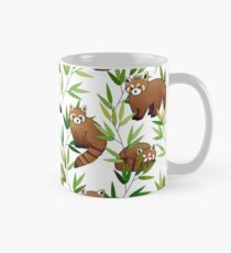 Red Panda & Bamboo Leaves Pattern Classic Mug