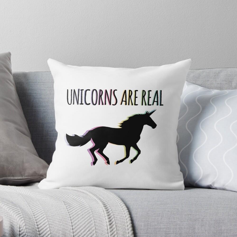Unicorns are Real Rainbow Version Throw Pillow