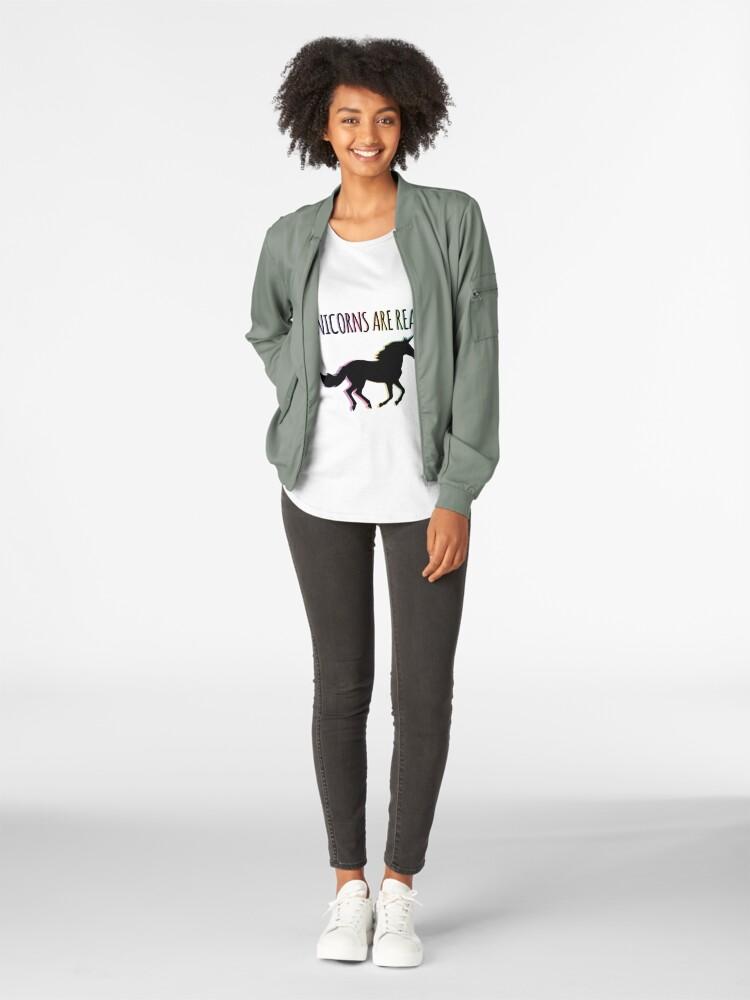 Alternate view of Unicorns are Real Rainbow Version Premium Scoop T-Shirt