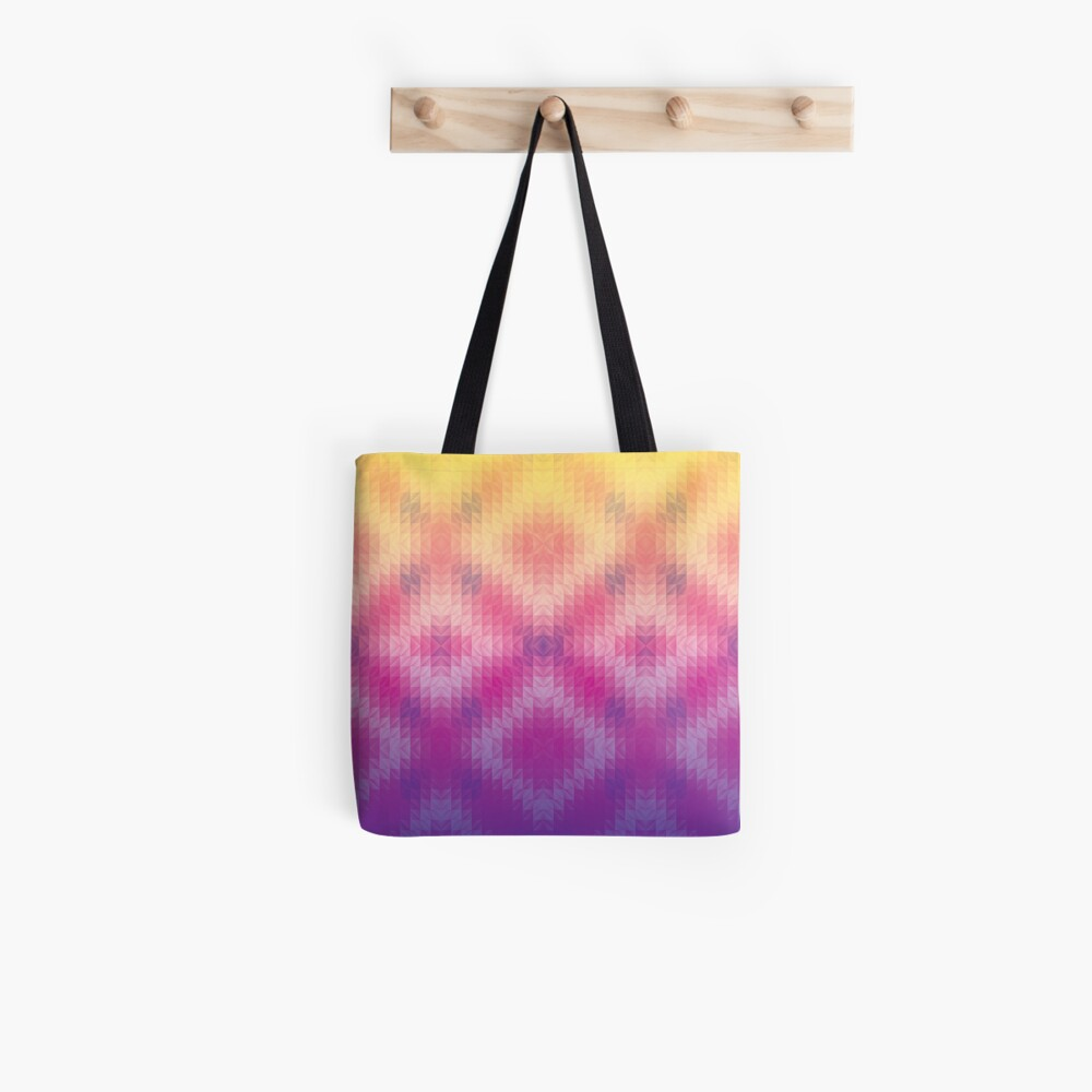 Ombre Sunset Geometric Pattern Tote Bag