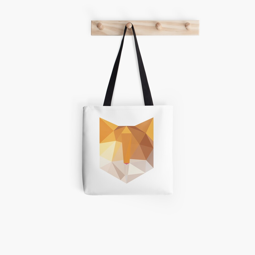 Geometric Orange Cat Face Tote Bag