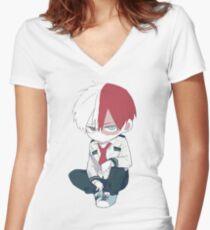 shoto todoroki Women's Fitted V-Neck T-Shirt