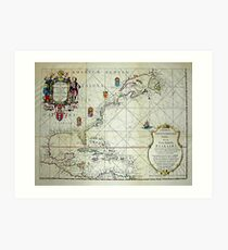 Map of North America, from 1621. Art Print