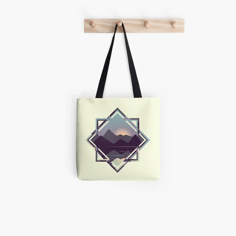 Reflective Lake & Mountains Sunset Tote Bag