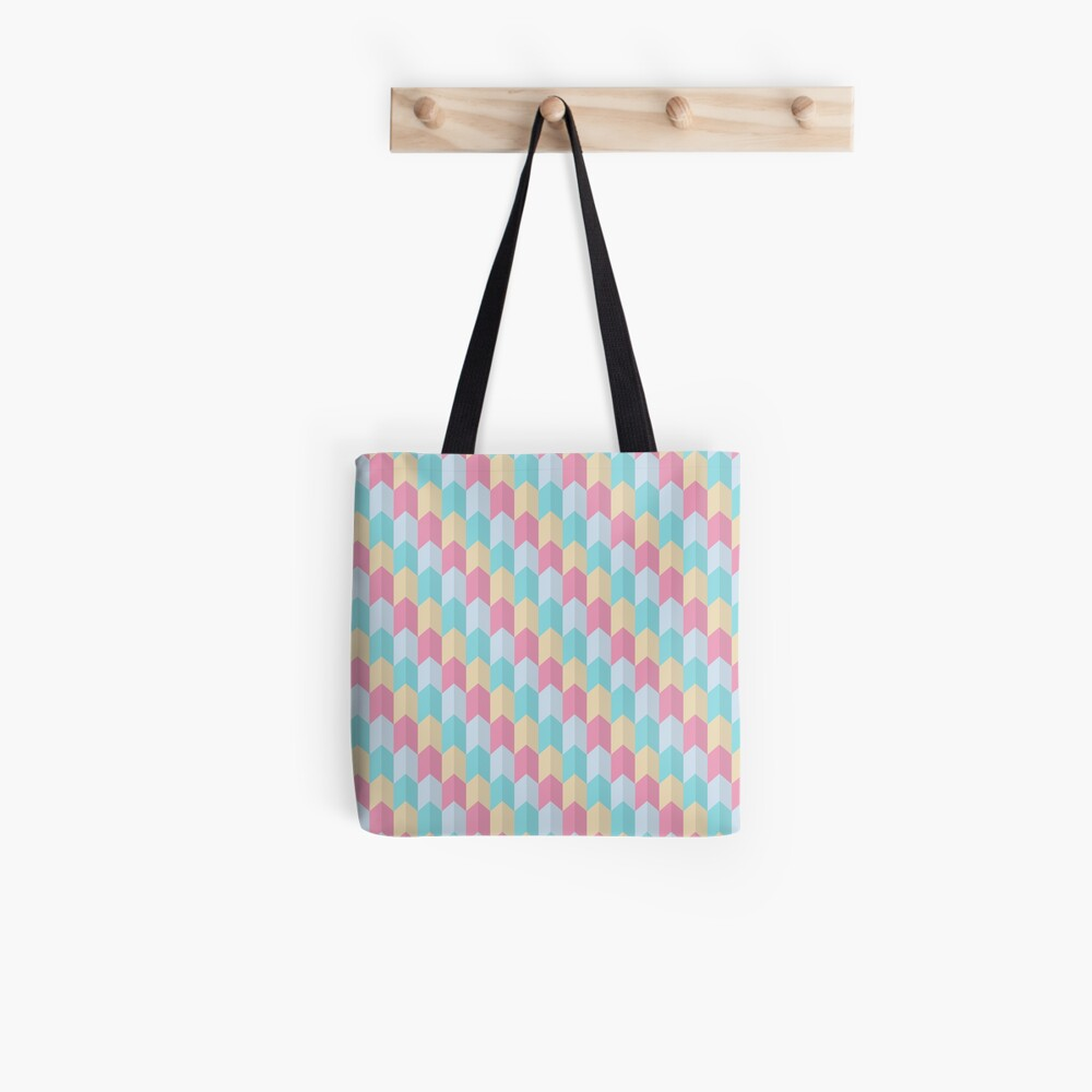 Retro Pastels Geometric Pattern Tote Bag