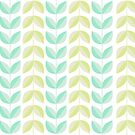 Spring Mint Green Vines & Leaves Pattern by tanyadraws