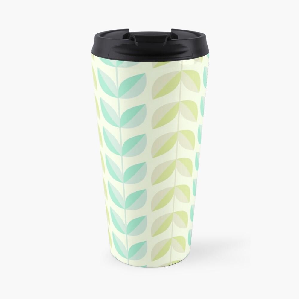 Spring Mint Green Vines & Leaves Pattern Travel Mug