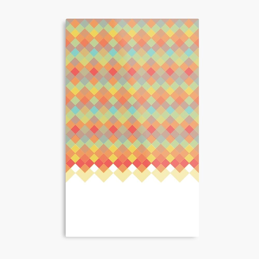 Tri-Colour Geometric Pattern Metal Print