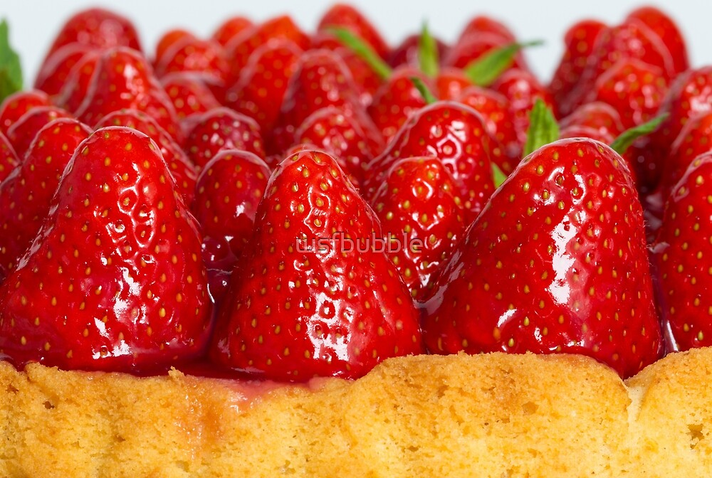 Strawberry cake with mint macro closeup by wsfbubble